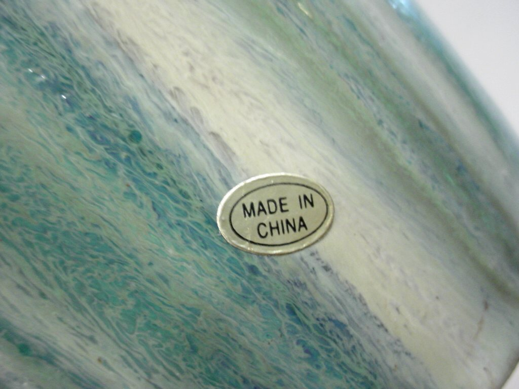 Fulper pottery fakes forgeries a nice tall copper dust flamb chinese stoneware vase with a faked fulper inkstamp mark and a made in china gold foil paper label reviewsmspy